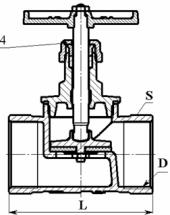 Схема для запорного клапана, вентиля со стандартным проходом для воды