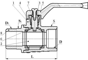 Схема шарового крана полнопроходного, муфтой-цапкой