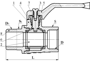 Схема шарового крана Цветлит полнопроходного газового с муфтой-цапкой